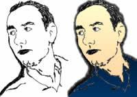 Desenho do Dj Mib lado a lado