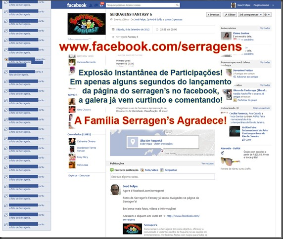 Explosão Instantânea na Página do Serragen's