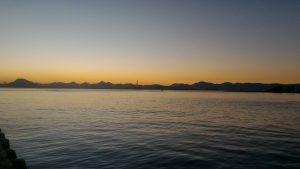 Sol nascendo, vista do Rio de Janeiro, avistamos Niterói.